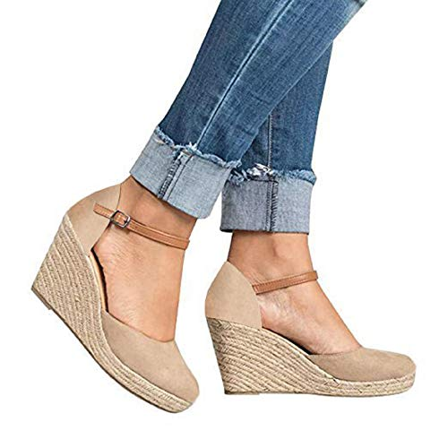FISACE Womens Summer Espadrille Heel Platform Wedge Sandals Ankle Buckle Strap Closed Toe Shoes (9 M US, Beige)
