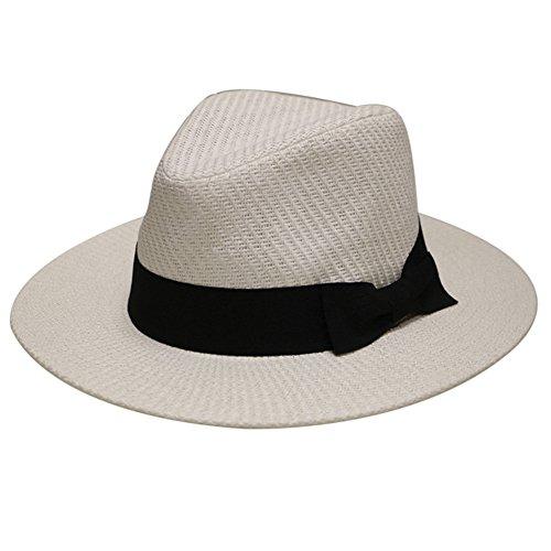 Unisex Fedora Brim Hat - City Hunter Unisex Wide Brim Panama Straw Fedora Hat Multi Styles (S/M, Pms470 White)