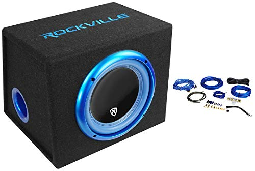 Rockville RVB10.1A 10″ 500W Powered Car Subwoofer+Sub Enclosure Box+Amp Wire Kit