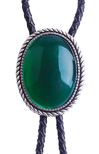 Yuanmo Bolo Tie with Emerald and Turquoise Stone Celtic Style Genuine and Cowhide Rope