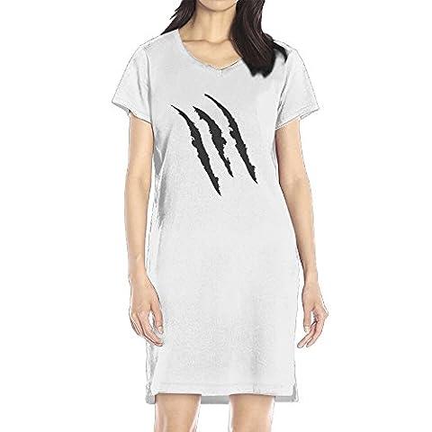 AIJFW Wolverine 3 Claw Marks Women's V-neck Dress Top White S (Wolverine X Men Claw Silver)