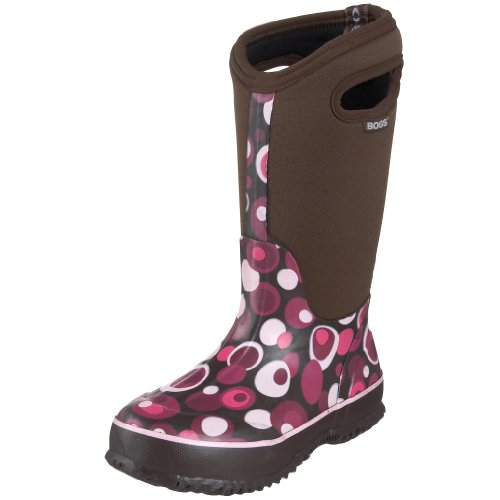 Bogs Kids Classic High Waterproof Insulated Rubber Neoprene Rain Boot Bubbles Print/Chocolate/Multi