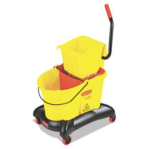 Rubbermaid Commercial - Wavebrake 35 Qt Dual Water Side Press Mop Bucket & Wringer - Yellow by Rubbermaid Commercial