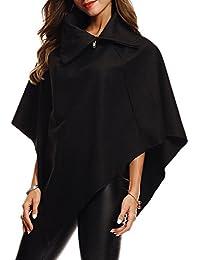 Women's Solid Wool Hooded Turn-Down Poncho Jacket Cloak Coat