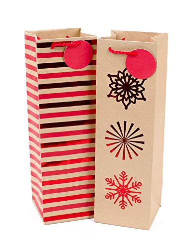 Hallmark Christmas Bottle Gift Bags, Stripes and Snowflakes (Pack of 2)