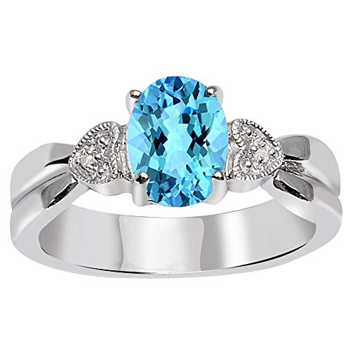 Natural Blue Topaz & Diamond Multi Birthstone Rings For Women By Orchid Jewelry : Anniversary And Engagement Ring For Her, Fashion Rings Size 8 (1.60 Ctw)
