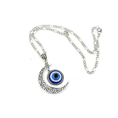 Darkey Wang Unisex Fashion Jewelry Unique Turkish Evil Eye Blue Moon Pendant Necklace