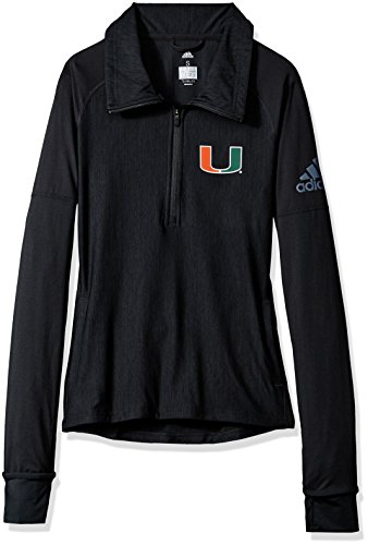NCAA Miami Hurricanes Adult Women Team Logo Vertical Heather 1/4 Zip Pullover, X-Large, Black