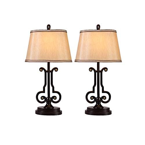 Traditional Table Lamps Set of 2, 2-Pack Modern Bedside Lamps in Black Finish, Beige Shades, for Living Room Bedroom Nightstand End Table ()