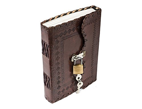 - PRASTARA Genuine Leather Cover Lock Diary 200 Pages, 5 x 7 Inches (Brown)