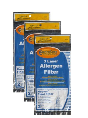 (6) Hoover WindTunnel Non Self Propelled 3 Layer Final Vacuum Filter, Bagless, Uprights, Widepath, Empower, Foldaway, Powerman Vacuum Cleaners, 40110004, 38766009, 38766007 by EnviroCare
