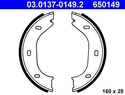ATE 650149 Original Drum Brake Shoe Set