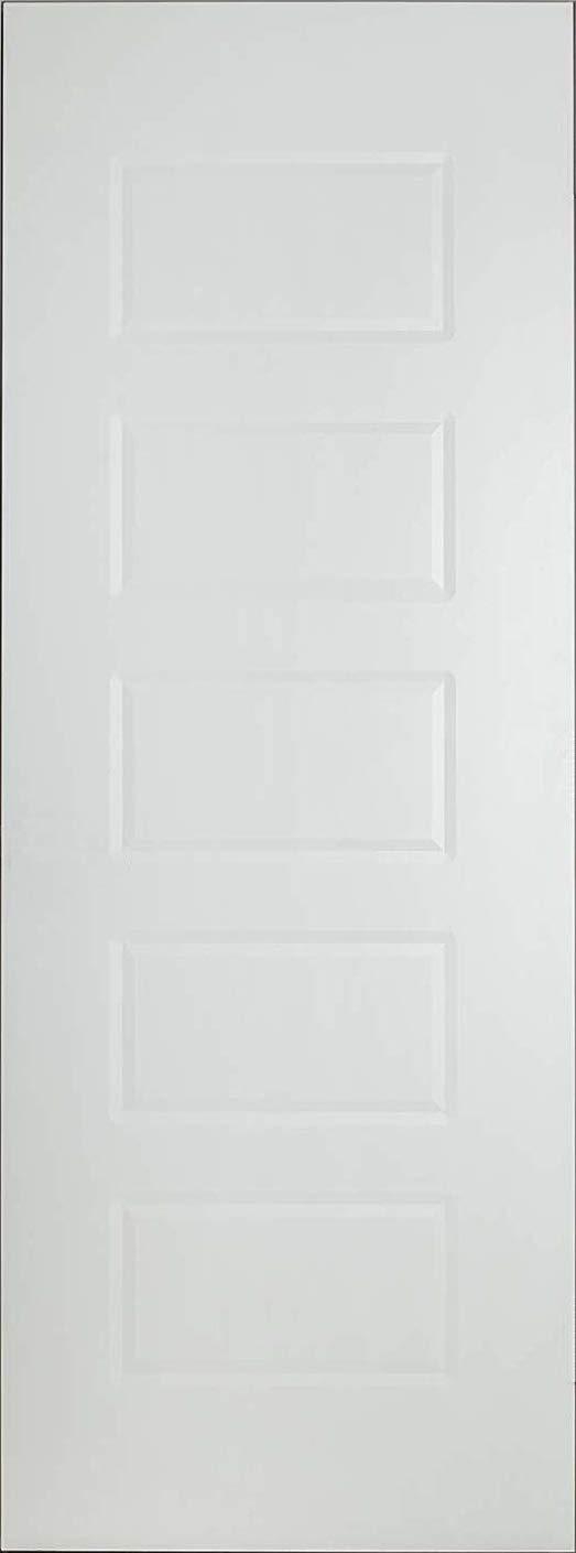 Citidoors 30''x80'' 5-Panel Interior Door Slab for Room and Closet, Honeycomb Core, Model: Virginia, White by Eva Doors
