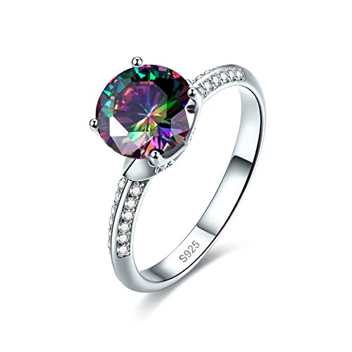 Mystic Topaz Ring (Jrose 925 Sterling Silver Solitaire Engagement Ring for Women with Round Cut Created Raibow Topaz)
