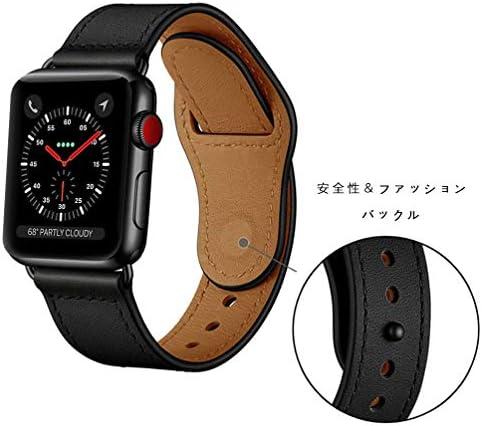 【Deyou】 Apple Watch バンド は本革レザーを使い,コンパチブル アップルウォッチ バンド ,対応しますApple Watch Series 4/3/2/1 時計ストラップ(黒、黒バックル-38mm/40mm)