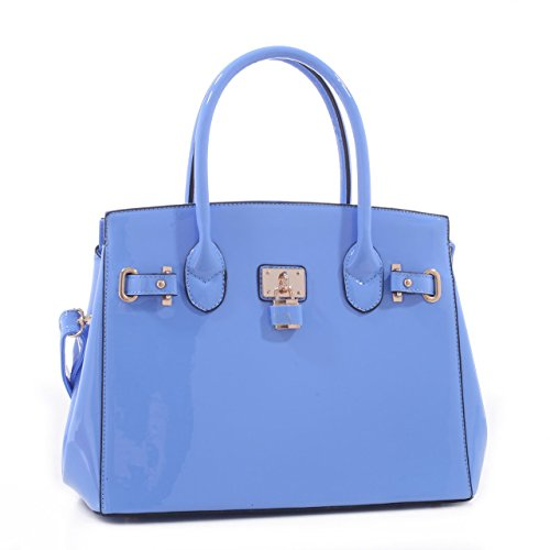 Akakios Patent Faux Leather Designer Inspired Tote Padlock Style Hand Bag - Blue - Inspired Purse