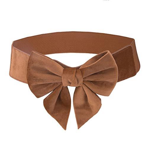 Samtree Elastic Waist Belt Solid Color Bowknot Button Wide Cinch Belts Dress