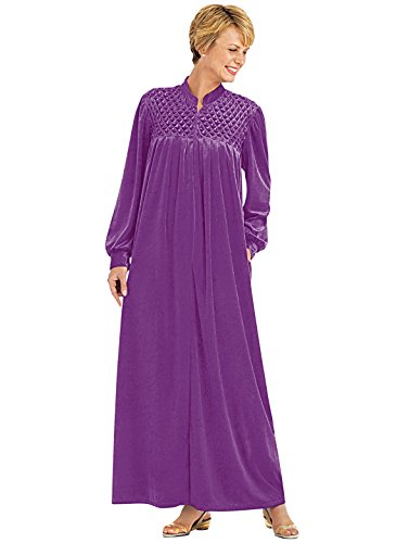 Zip-Front Velour Robe, Color Purple, Size Extra Large (2X), Purple, Size Extra Large (Velour Gift)