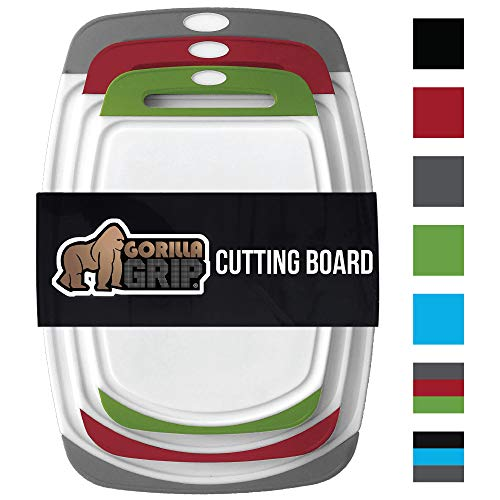 GORILLA GRIP Original Reversible Cutting Board (3-Piece), BPA Free, Dishwasher Safe, Juice Grooves, Larger Thicker Boards, Easy Grip Handle, Non-Porous, Extra Large (Set of Three: Gray, Red, Green) - Plastic 2 Piece Handle