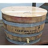 Oak wine barrel cooler with lid, natural