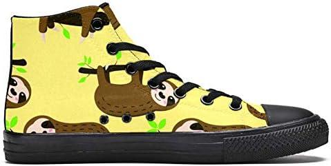TIZORAX DEYYA Hoge Top Sneakers voor Mannen Leuke Sloths Op Tak afdrukken Mode Kant omhoog Canvas Schoenen Casual Wandelen Schoen