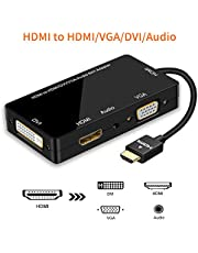 HDMI Adapter, HDMI to HDMI DVI VGA Synchronous Display 1080P HDMI DVI VGA Audio 4 in 1 Video Converter with Micro USB Cable for Projector Monitor HDTV