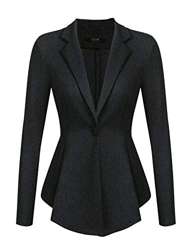 ACEVOG Women Casual Long Sleeve Work Office Blazer Claasic One Button Solid Color Jacket A Black XL