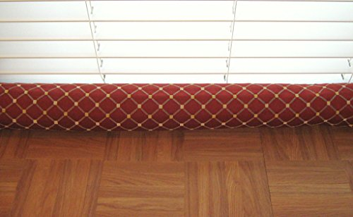 Door Draft Stopper Fabric Only Heavy Weight Upholstery Red Fabric with Gray & Beige Custom Made 24