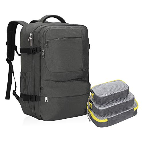 Hynes Eagle 44L Carry on Backpack Flight Approved Compression Travel Pack Cabin Bag Grey with Grey 3PCS Packing Cubes 2018