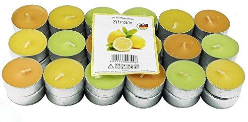 36 Nordlicht - Zitronella Duftlichte Teelichter, farbig gemischt, Aromatischer Zitronen Duft, Anti Mücken Kerzen, Duftkerzen, Outdoor Kerzen, Mückenabwehr