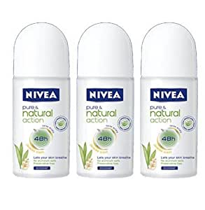 Nivea Pure & Natural Jasmin Scent 48 h Deodorant 3 Pack X 50 ml