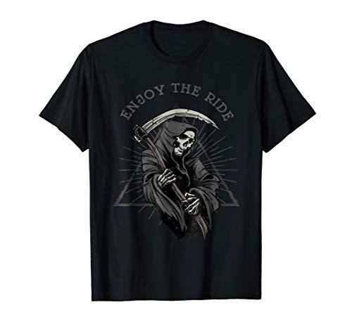 Funny Death Scythe Humor Enjoy Life Halloween Gift Tshirt