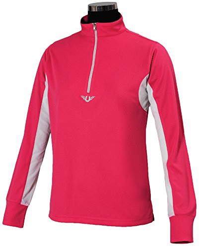 TuffRider Children's Ventilated Technical Long Sleeve Sport Shirt with Mesh, Hot Pink, ()