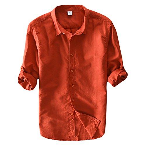Icegrey Camicia Uomo Camicie di Lino a Maniche Lunghe Camicie da Spiaggia Orange 44
