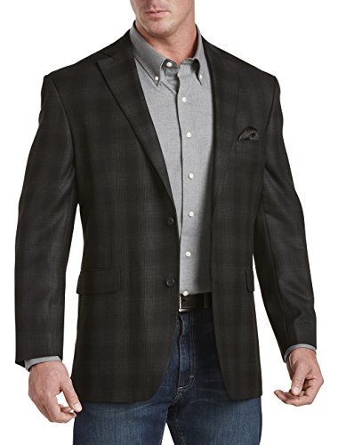 Oak Hill DXL Big and Tall Plaid Sport Coat Black Sport Jacket