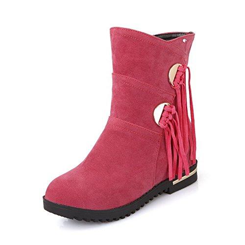 AllhqFashion Mujeres Tachonado Tacón Medio Puntera Redonda Gamuza(Imitado) Sin cordones Botas Rosa