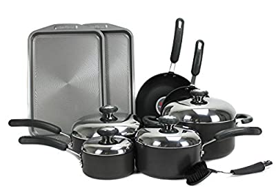 Hard-anodized Cookware Set 13-Piece Non-Stick TC with Oven-Safe, Black TC-00301A