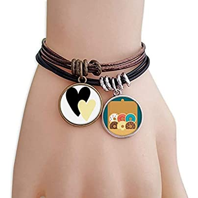 YZWD Double Heart Quote Handwrite Bracelet Rope Doughnut Wristband Estimated Price -