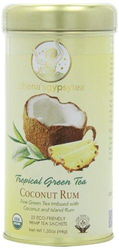 Zhena's Gypsy Tea, Coconut Rum Tropical Green Tea, 22-Count Tea Sachets (Pack of 3)
