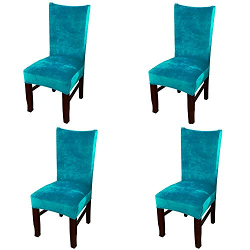 Smiry Velvet Stretch Dining Room Chair Covers Soft Removable Dining Chair Slipcovers Set of 4, Peacock Green -