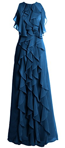 Women Chiffon Neck Dress Party Evening Teal Wedding O MACloth Long Gown Bridesmaid 1wggZd