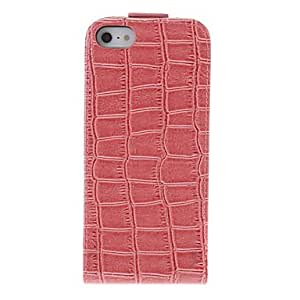 RC - Fashion Style Crocodile Leather Flip-open Full Body Case with Matte Back Cover for iPhone 5/5S (Assorted Colors) , Brown