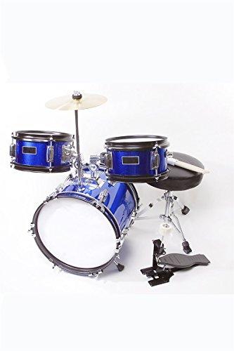 Children's Blue 3 Piece 12 Inch Kids Junior Drum Set with Chair, Sticks, Stool, Adjustable Tuning Key & DirectlyCheap(TM) Translucent Blue Medium Pick (Really Cheap Drum Kit)