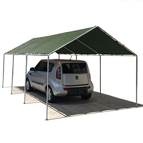 Green Carport - Alion Home Waterproof Poly Tarp Carport Canopy Replacement Garage Shelter Cover w Ball Bungees for Low & Medium Peak(Frame Not Included) (12' x 20', Dark Green)