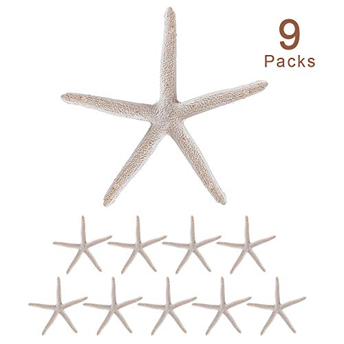Joy-Leo 4 Inch White Finger Resin Starfish (9-Count/Gift Edition), White Decorative Sea Stars for Nautical Themed Christmas Tree Ornaments &Beach Wedding &Party Decor &Home Decoration &Craft Project