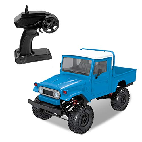 Ikevan_ Car Model Truck Toy RC Car Off-Road Truck Front LED Light 1:12 4WD RC Car Off-Road Military Rock Crawler Monster Truck (Blue)
