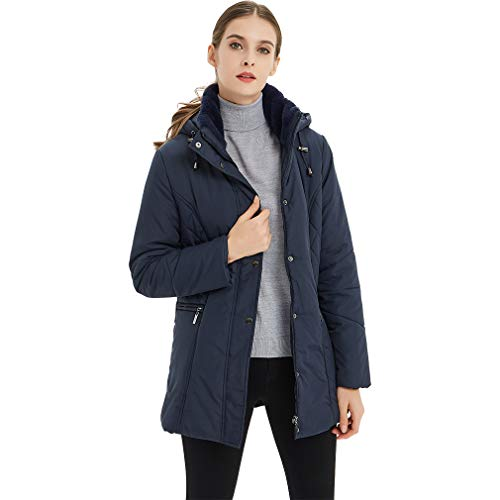 Plusfeel Ladies Hood Softshell Hiking Camping Outdoor Climbing Winter Warm Lightweight Longsleeve Parka Jacket Coat Women, Dark Blue, M