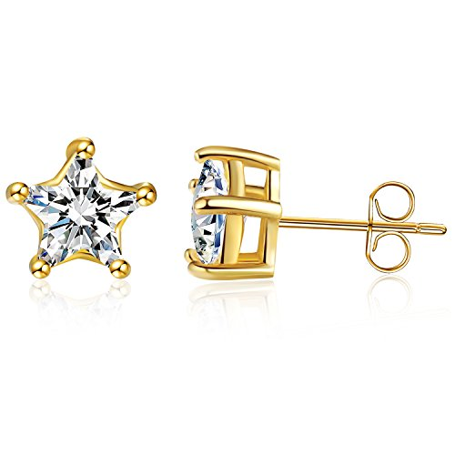 """Sephla """"Lucky Star"""" 925 Sterling Silver 5 Prong Five-Point Star Shape Cubic ZIrconia Stud Earring (5mm Yellow Gold Plated)"""
