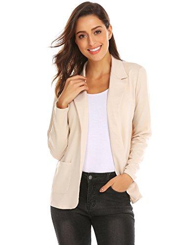 Zeagoo Womens Casual Work Office Blazer Open Front Long Sleeve Cardigan Jacket (Khaki, S) by Zeagoo