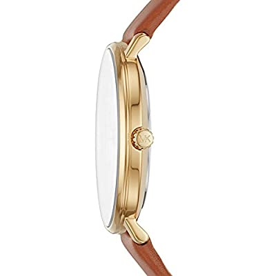 Michael Kors Watches Womens Gold-Tone and Luggage Leather Pyper Watch